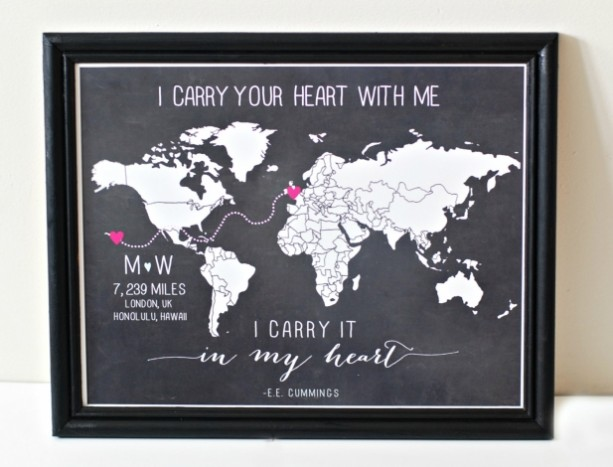 Custom Long Distance Relationship Love World Map Print