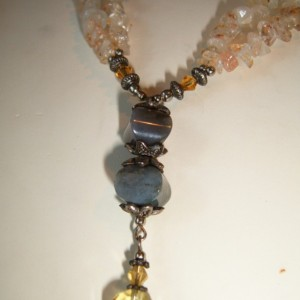 Natural Earthy Citrine/Jasper Crystal Elegance Necklace and Earrings