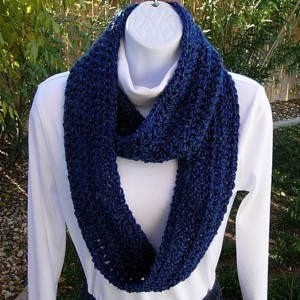 INFINITY SCARF Loop Cowl, Dark & Medium Blue, Super Soft Lightweight Crochet Knit Winter Eternity Wrap, Neck Warmer..Ready To Ship In 3 Days