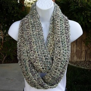 COWL SCARF Infinity Loop, White Purple Teal Rose Blue Multicolor, Soft Crochet Knit Light Winter Wrap, Neck Warmer..Ready to Ship In 3 Days