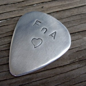 Hand stamped custom guitar pick sterling silver 22 gauge personalized gift for him