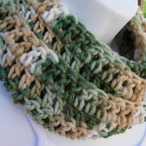 SUMMER INFINITY SCARF Green, Tan, Off White, Small Skinny Lightweight Crochet Knit Loop Circle Eternity Cowl..Ready to Ship in 3 Days