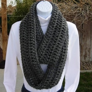 INFINITY SCARF Loop Cowl Solid Charcoal Grey Gray Extra Soft Crochet Knit Warm Long Winter Circle Wrap, Neck Warmer..Ready to Ship in 3 Days