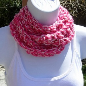 SUMMER SCARF, Infinity Loop, Hot & Pale Light Pink, Extra Soft Small Crochet Knit Lightweight Cowl Circle Skinny, Crocheted Necklace..Ready to Ship in 3 Days