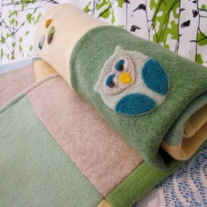 OWL Cashmere Baby Blanket - Heirloom Quality Patchwork Quilt made with upcycled cashmere sweaters