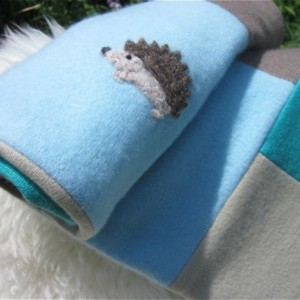 Hedgehog Baby Blanket Cashmere Wool Quilt Upcycled - Made to Order - your color choice - Heirloom baby boy or girl patchwork quilt Woodland