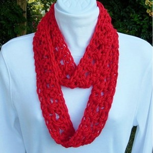 SUMMER INFINITY SCARF Bright Lipstick Solid Red,  Extra Soft Lightweight Small Cowl Skinny Loop, Crochet Necklace..Ready to Ship in 3 Days