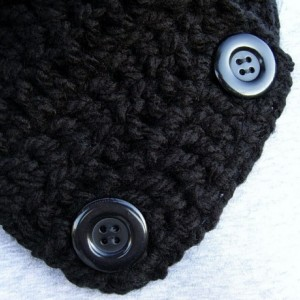 Women's or Men's Solid Black NECK WARMER SCARF Basic Black with Black Buttons, Extra Soft 100% Acrylic Crochet Knit Buttoned Cowl Scarflette, Ready to Ship in 3 Days