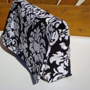 Coupon Organizer /Budget Organizer Holder  / Attaches To You Shopping Cart - Black and White Dandy Damask - Hot Pink Lining
