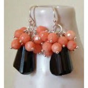 Jet Black Onyx & Angelskin Coral gemstone earrings. Sterling silver,coral earrings, onyx earrings, black and coral,angelskin coral, earrings