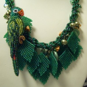 Polly Parrot in the Tree Leaves Necklace