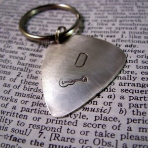 Hand stamped sterling silver guitar pick key chain custom gift
