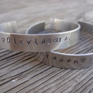Hand stamped cuff bracelet 3/8 inch aluminum made to order ONE bracelet