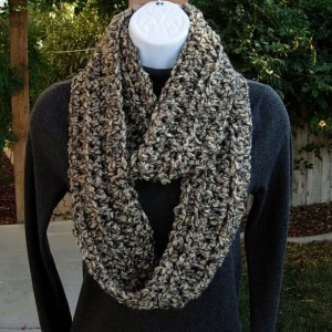 Soft Skinny INFINITY SCARF Loop Cowl, Tan Beige Black Grey Gray, Narrow Handmade Crochet Knit Thick Winter Circle Scarf, Ready to Ship in 2 Days