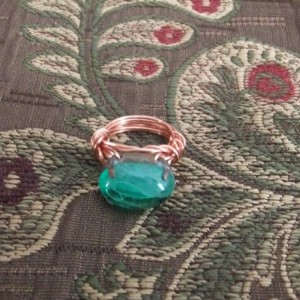 Downton Abbey Vintage green, glass beaded, wire wrapped, ring. Oval bead set in copper wire.