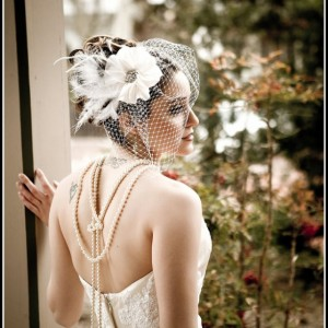 Silk Flower Feather Beaded Birdcage Veil and Fascinator with Rhinestone Center