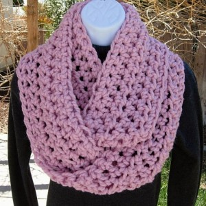 COWL SCARF Infinity Loop, Light Solid Pink, Bulky Soft Wool Blend, Crochet Knit Winter Eternity Circle Wrap, Neck Warmer..Ready to Ship in 3 Days