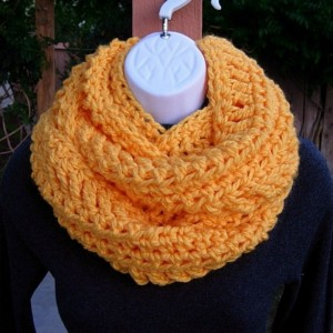 INFINITY SCARF Cowl Loop Solid Orange Yellow Extra Soft Warm Bulky Crochet Knit Winter Eternity Circle 100% Acrylic..Ready to Ship in 3 Days