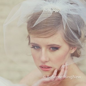 Birdcage Veil in Tulle with Rhinestone Flower Comb