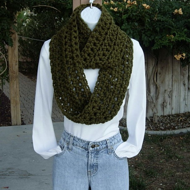 Dark Olive Military Green Crochet Infinity Loop Cowl Scarf