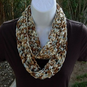 Women's SUMMER SCARF Small Infinity Loop Cowl Blue Brown Tan Off White Multicolor Soft Lightweight Skinny Circle..Ready to Ship in 3 Days
