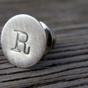 Hand stamped personalized tie tack in sterling silver-  lapel pin for Men- monogram initals custom gift accessory
