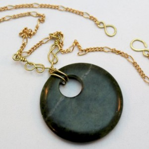 Dark Green Stone with Brass Naval Knot Wraps Necklace - Sirens and Sailors Collection
