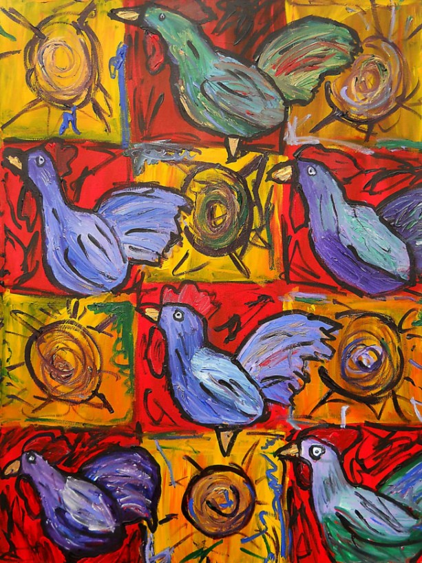 Roster/Cock/Gallo Folk Art Painting  ORIGINAL Colorful 30x40 by Anthony Saldivar