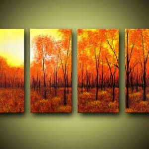 Bright Fall Landscape Giclee On Canvas Large 4 Panel Wall Art