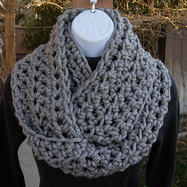 Light Solid Gray Chunky Thick Crochet Winter Infinity