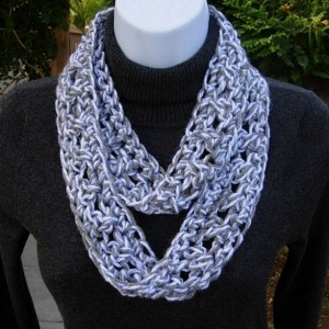 SUMMER INFINITY SCARF Light Silver Gray Grey & White, Soft Crochet Knit Loop Circle Skinny Small Crocheted Necklace..Ready to Ship in 2 Days