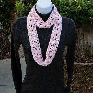 Solid Light Pink SUMMER SCARF Infinity Loop Cowl, Soft Crochet Knit Lightweight Small Skinny Necklace, Women's Neck Tie..Ready to Ship in 2 Days