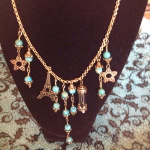 Lady Cora antiqued brass and turquoise necklace. Very Downton Abbey Statement necklace. OOAK.