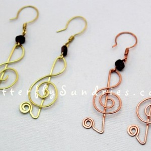 Treble Clef Earrings with Garnet Beads