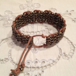 Unisex adjustable Rollo chain and Greek leather bracelet in camouflage colors.