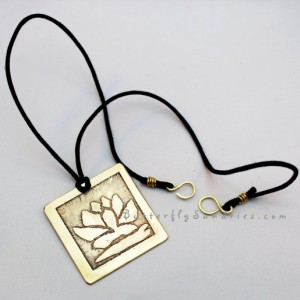 Handmade Yellow Brass Etched Lotus Pendant Necklace - Lotus Collection