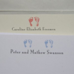 Custom Baby Announcement Stationery. Personalized stationery. Boys and girls. Customizable with printed envelopes.