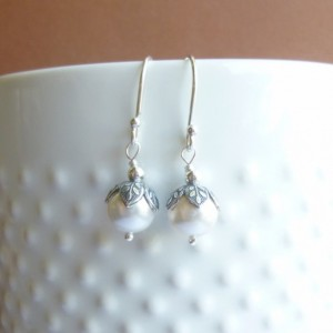 Vintage Style Antiqued Silver Leaf Earrings with Sterling Silver Hooks