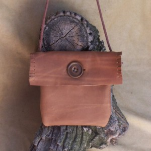 Small Crossbody Hipster Rustic Brown Leather Bag  Vintage Button long strap