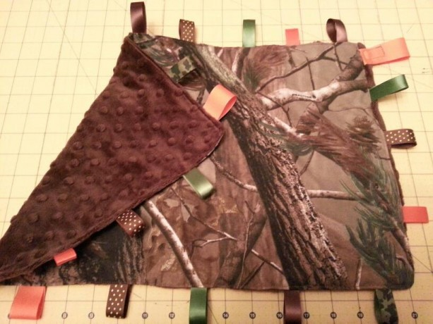 Camo Tag blanket - custom made- You choose accent color and accent fabric