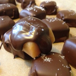 Chocolate Covered Sea Salt Caramels / chocolate / unique / gluten free / fun / different /  gift / present / favor / milk / dark /white