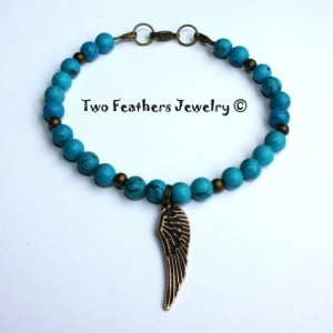 Angel Wing Bracelet - Turquoise Bracelet - Antiqued Brass Bracelet - Beaded Bracelet - Turquoise And Brass - Charm Bracelet - Valentines Day