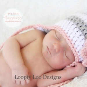 Striped Earflap Hat with Flower