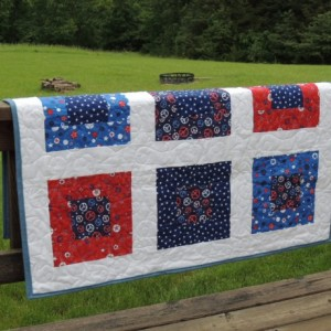 Patriotic Quilt for Baby Boy or Girl Red White and Blue