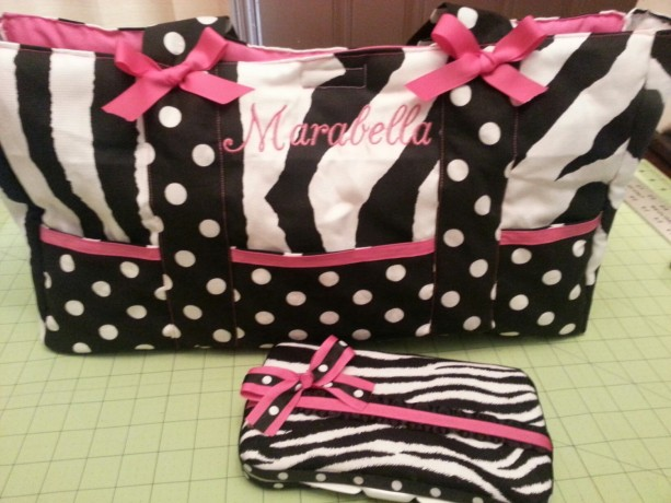 Custom Diaper bag-Zebra, polka dot  fabric**6 pocket bag** with name embroidered and wipe pouch set-washable