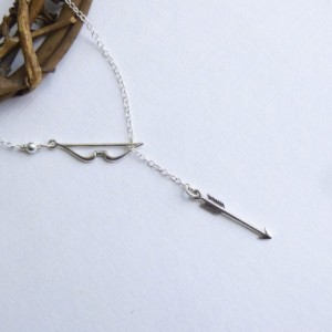 Sterling Silver Bow and Arrow Lariat Necklace... Entirely Sterling Silver