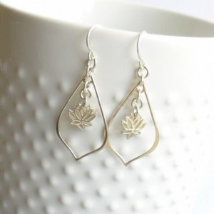 Sterling Silver Lotus Flower Earrings with Sterling Hooks