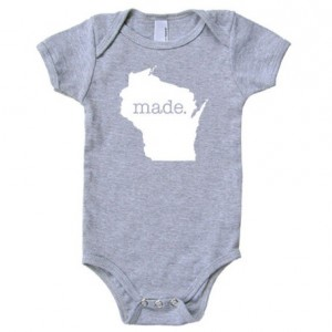 Wisconsin 'Made.' Cotton One Piece Bodysuit - Infant Girl and Boy