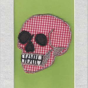 Beaded Skull // Red Gingham // Bead Embroidery // Mixed Media Art // Beaded Painting // Seed Beads // Fabric