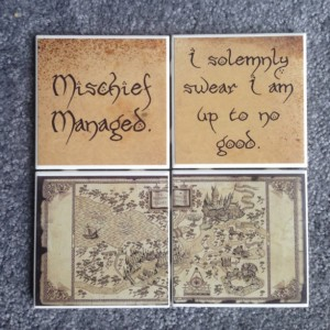 Harry Potter Coasters (Set of 4) Marauders Map Quotes, Hogwarts Map